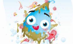Comicfigur Tim Tropf wird von Mikroorganismen gewaschen. Er spielt eine wichtige Rolle im Umweltbildungsprogramm der ebswien.