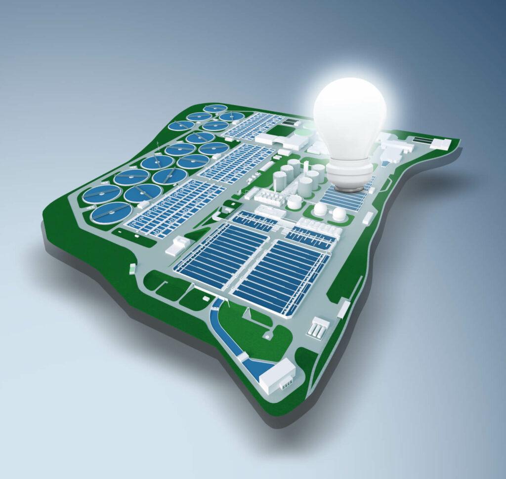 Grafik der Wiener Kläranlage. Eine leuchtende Glühbirne symbolisiert die Erzeugung von Öko-Energie.